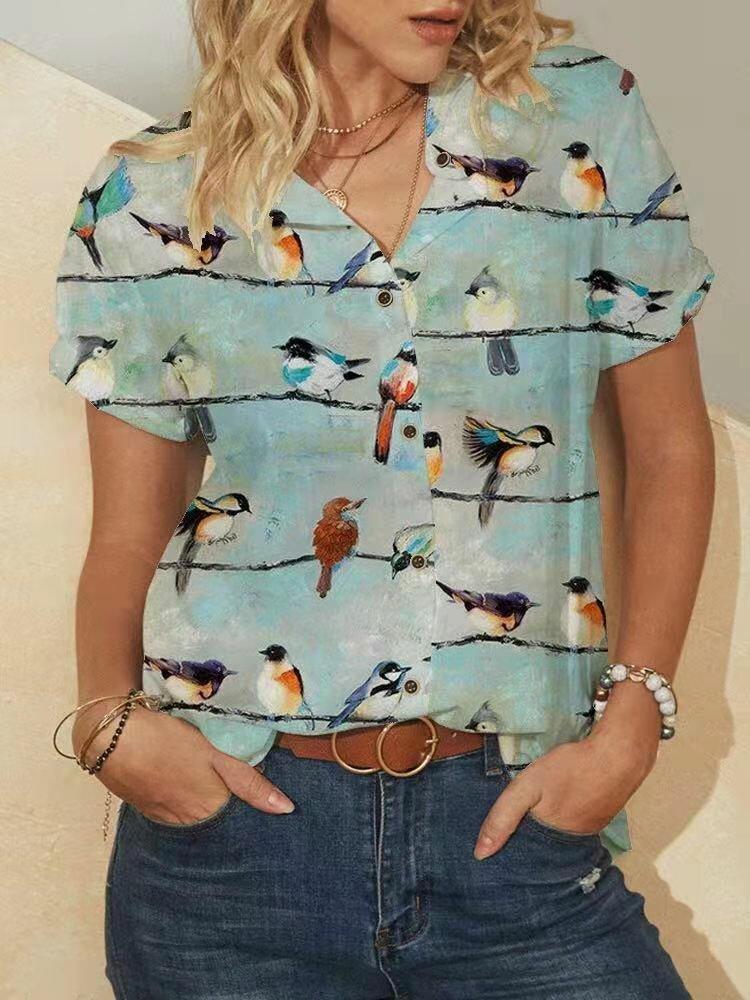 Chemisier col montant à manches courtes et imprimé oiseaux pour femme