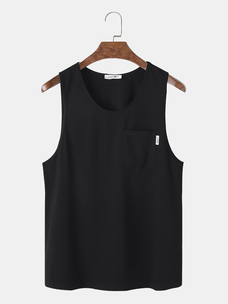 Mens Solid Color Chest Pocket Crew Neck Sleeveless Casual Tank Top