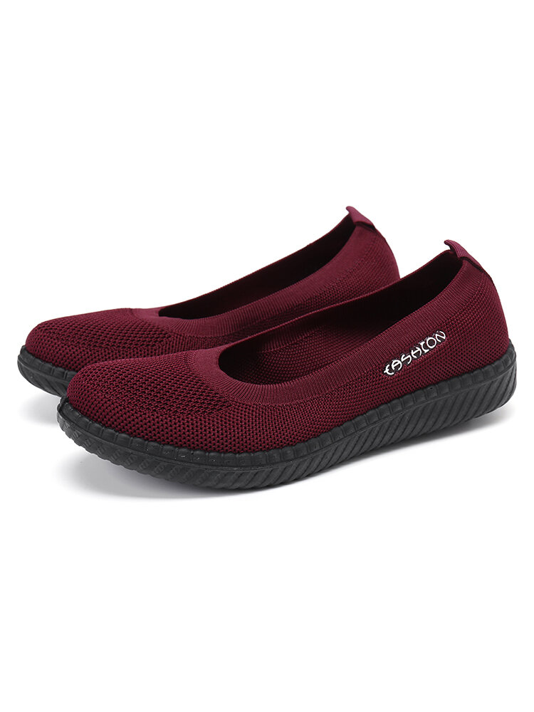 Women Breathable Knitted Soft Sole Slip On Flats Shoes