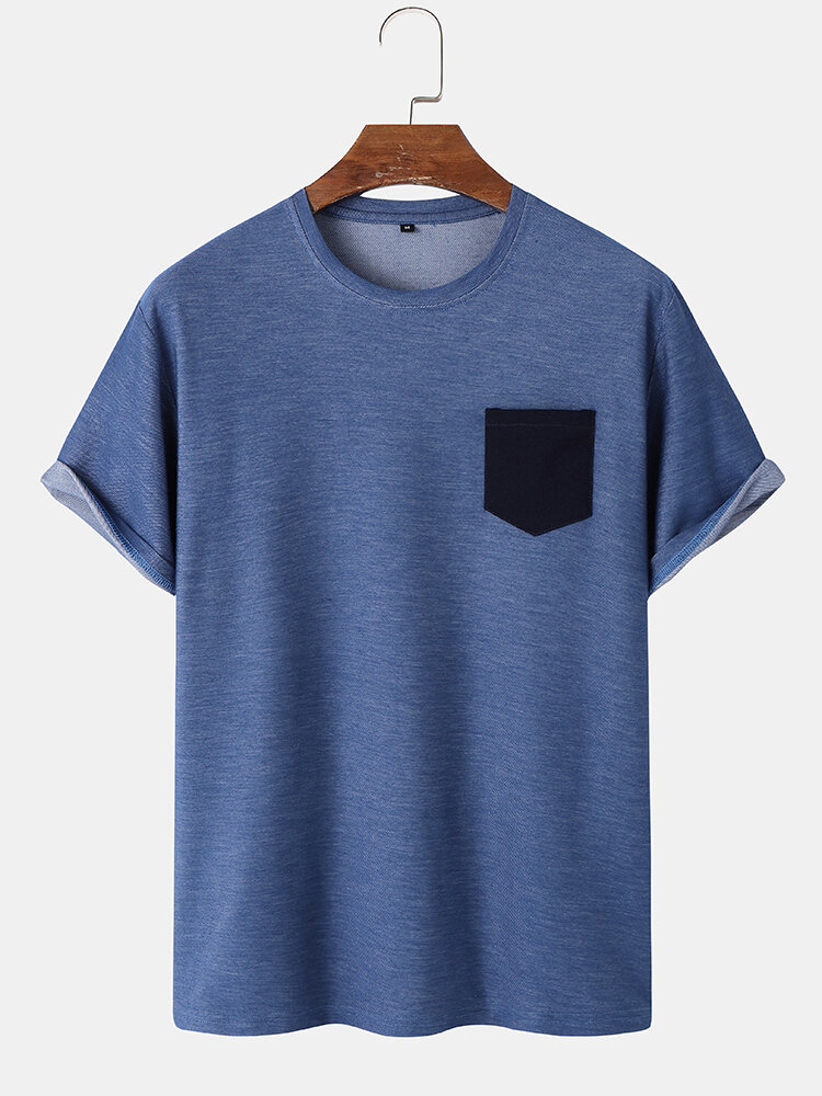 Mens 100% Cotton Contrast Patched Pocket Casual Short Sleeve T-Shirts