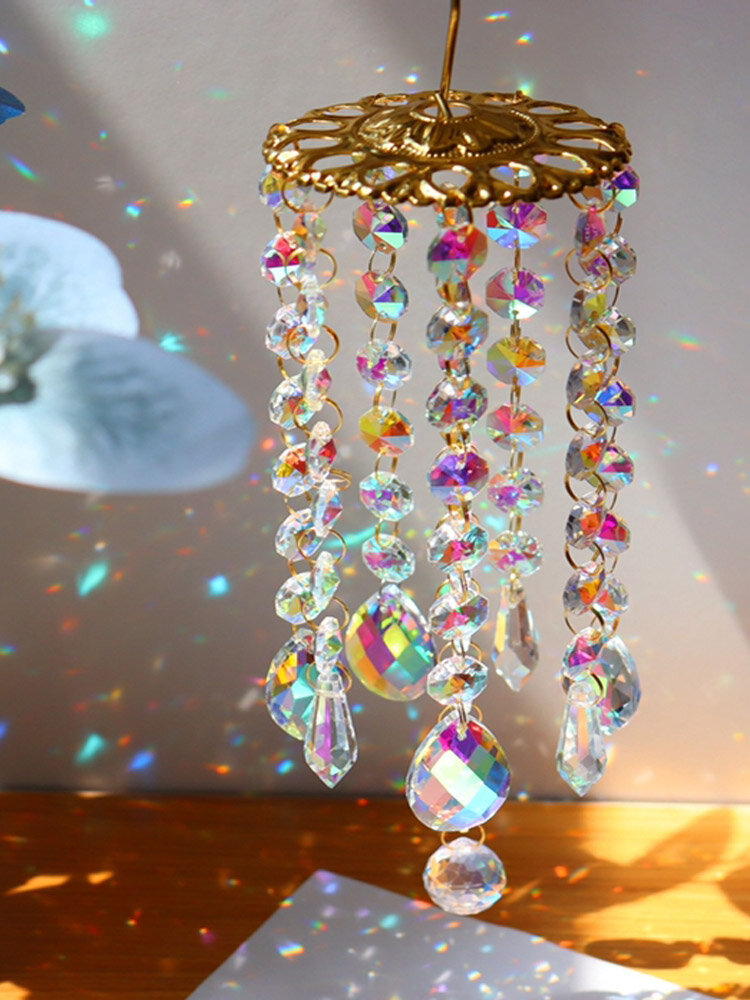 1 PC Artificial Hanging Crystal Glass Exquisite Colorful Wind Chimes Furniture Garden Home Decoration