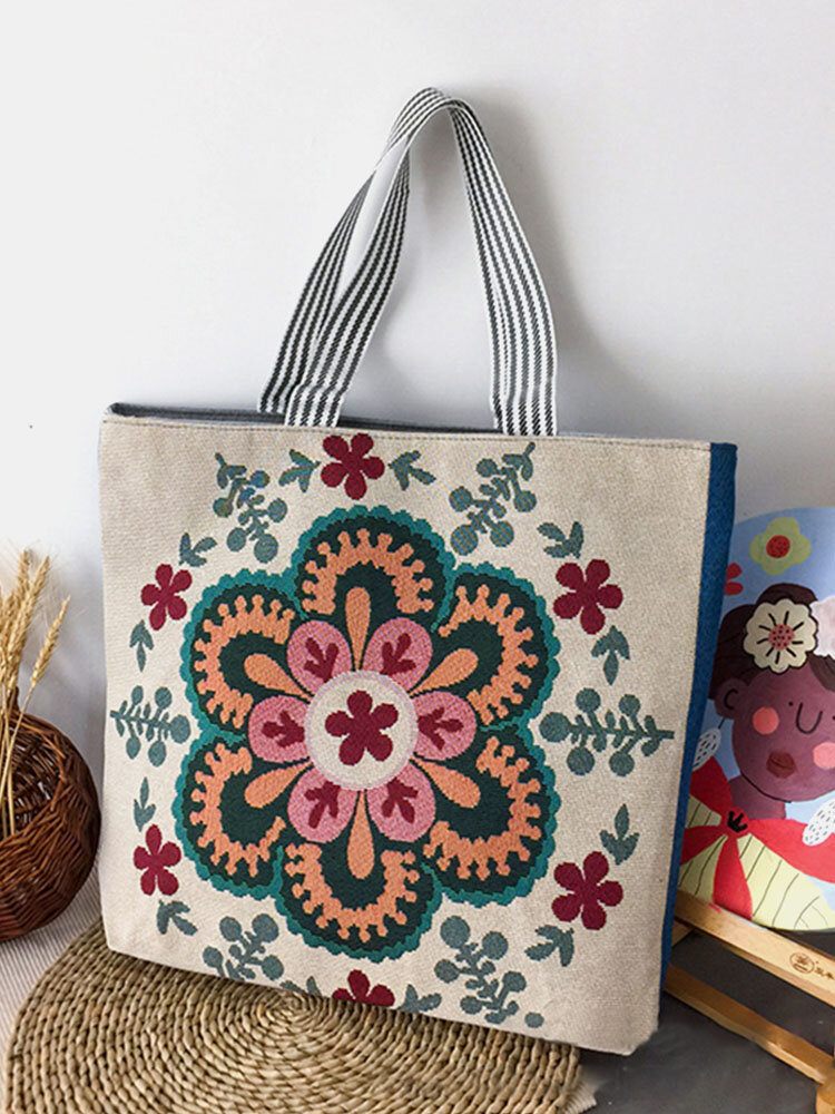 Casual Canvas Flower Print Pattern Multi-color Handbag Tote With Zipper Inner Pocket