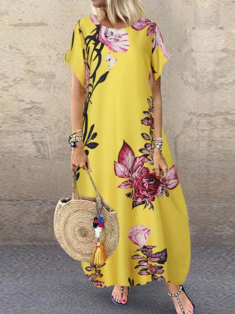 Casual Flowers Print Short Sleeve Plus Size Dress