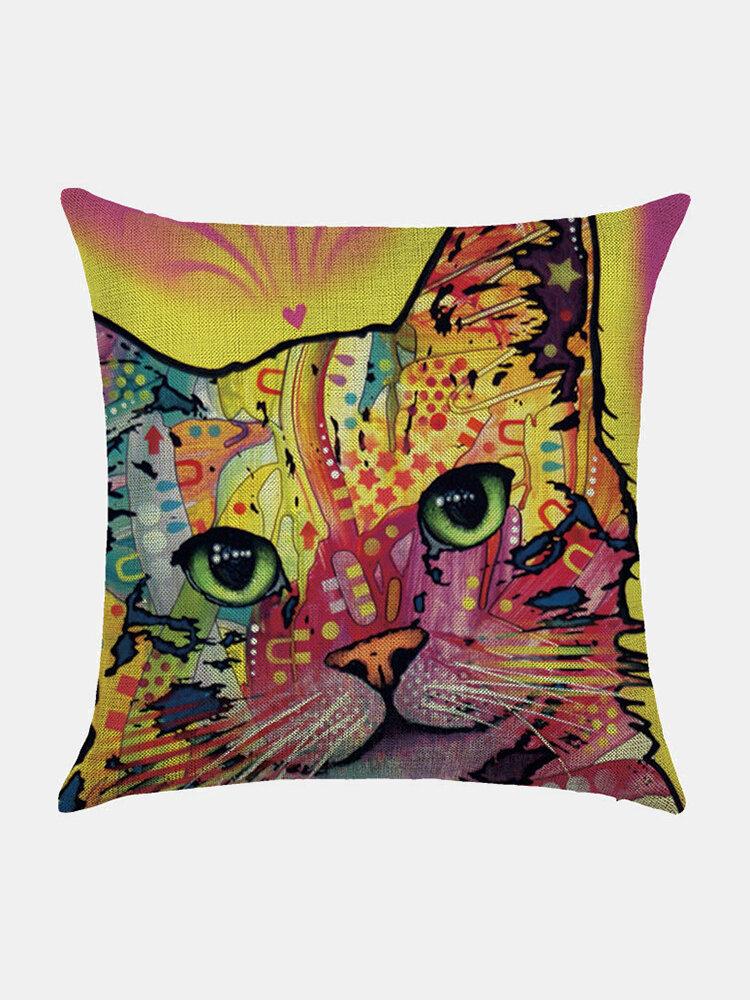 Colorful Animal Pattern Linen Cushion Cover Home Sofa Art Decor Throw Pillowcase