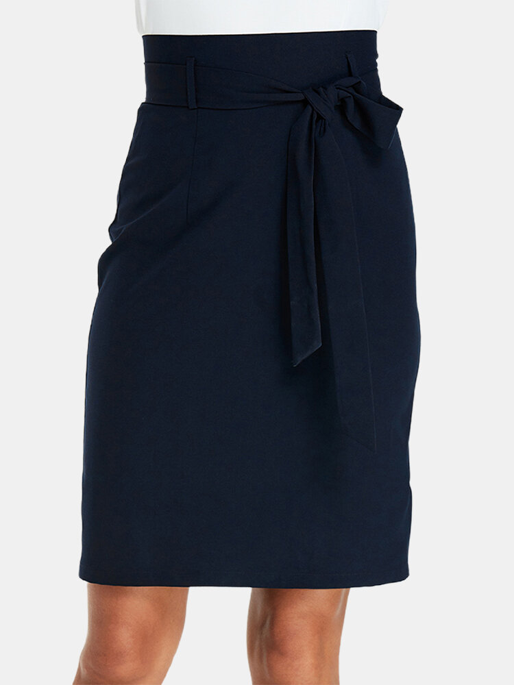 Solid Color Plain Knotted Casual Skirt for Women