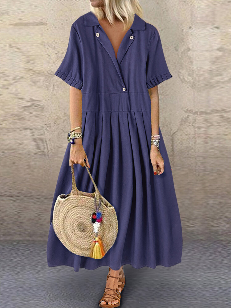 Solid Color Stringy Selvedge Short Sleeve Lapel Maxi Dress For Women