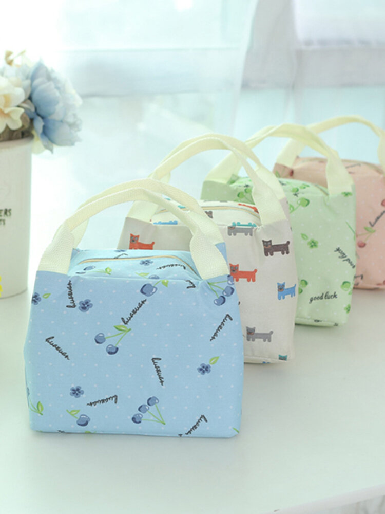 1500ML Simple Fresh Waterproof Thickening Insulation Oxford LunchBag Hand-held Storage Bags