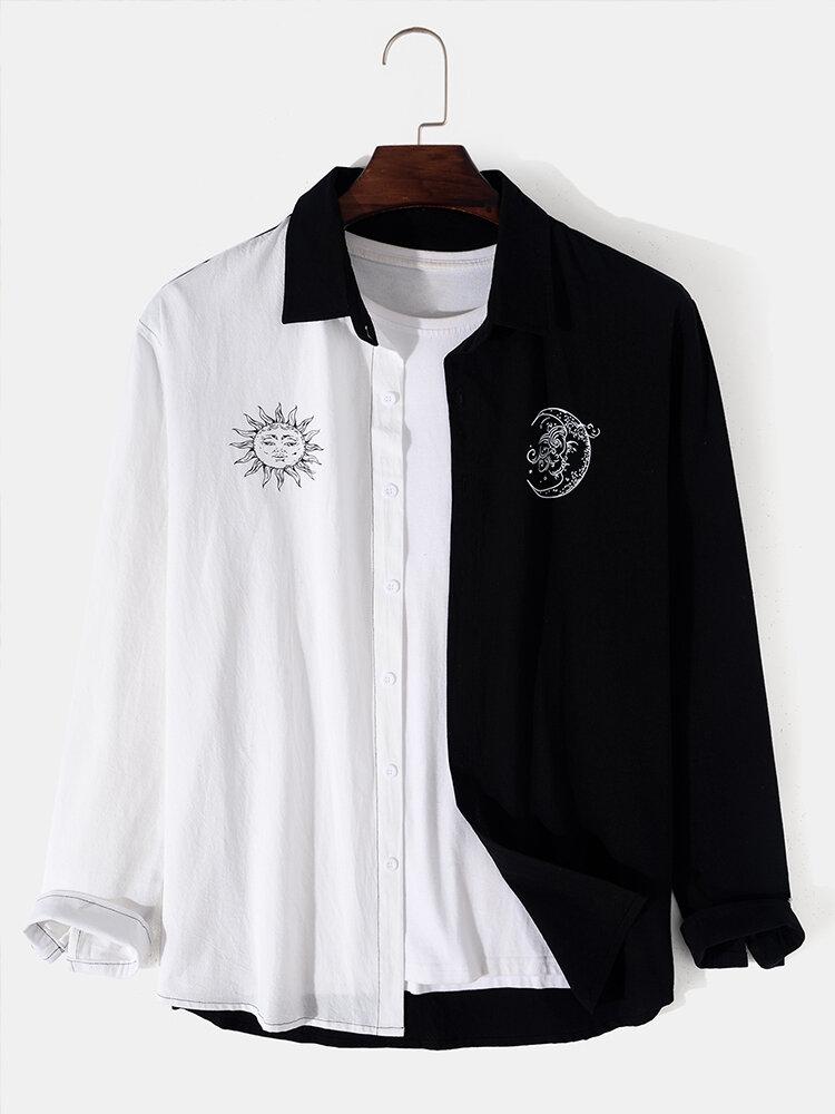 Men Contrast Color Patchwork Lapel 100% Cotton Long Sleeve Shirts