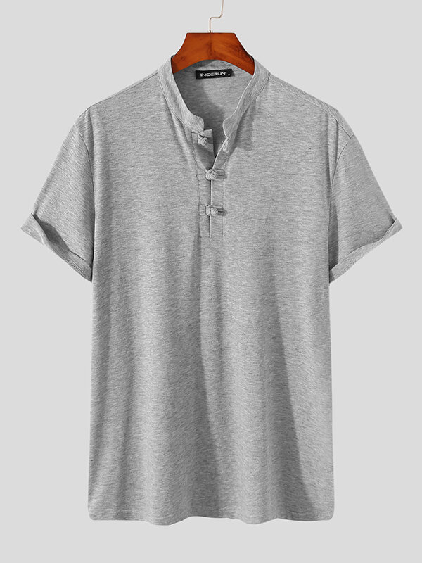 Plus Size Mens Solid Color Frog Button Casual Short Sleeve Henley Shirts