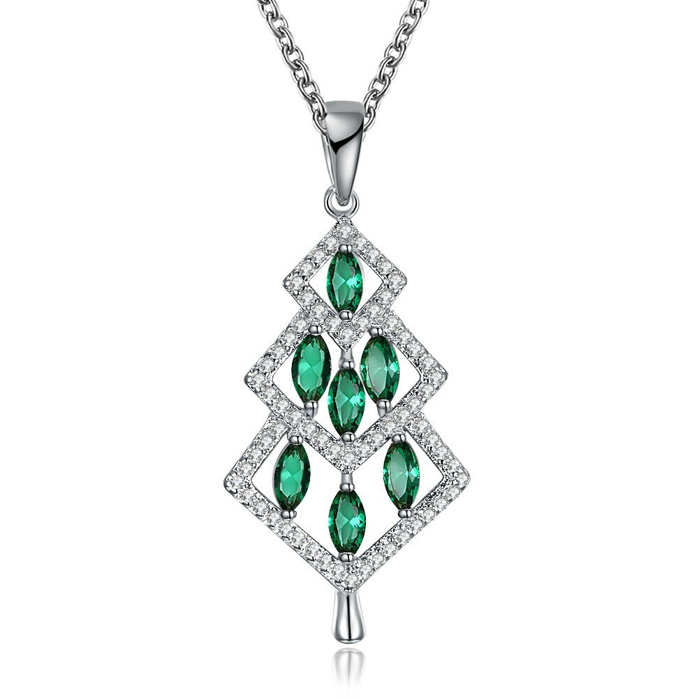 INALIS Christmas Tree Pendant Green Zirconia Necklace Gift for Women