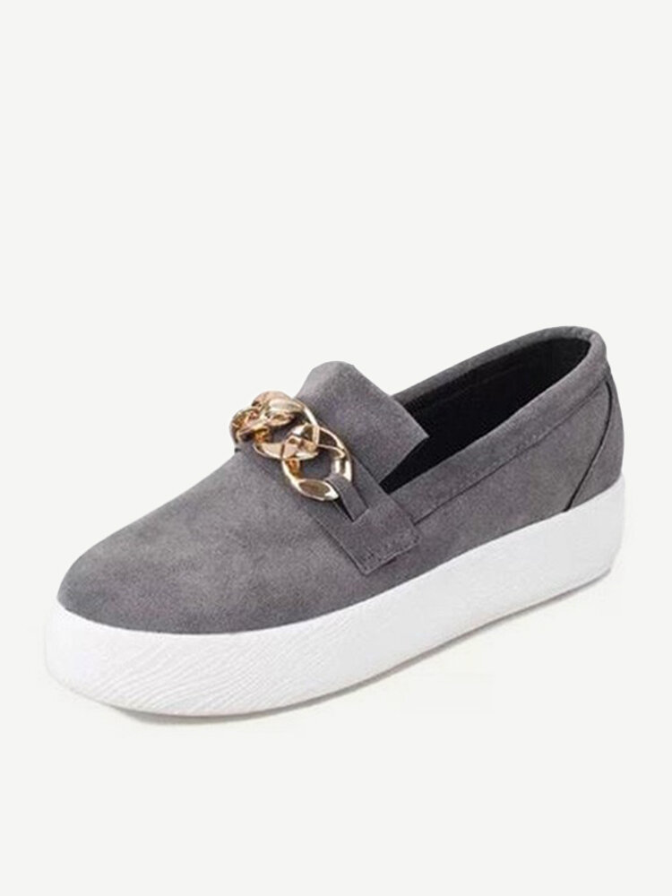 Fashion Suede Metal Chain Flat Shoes Loafers