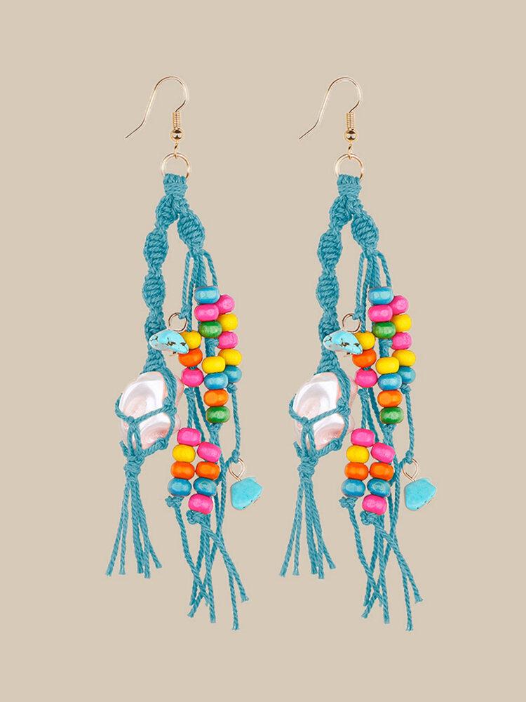 Bohemia Handmade Woven Women Earrings Pearl Turquoise Tassel Pendant Earrings