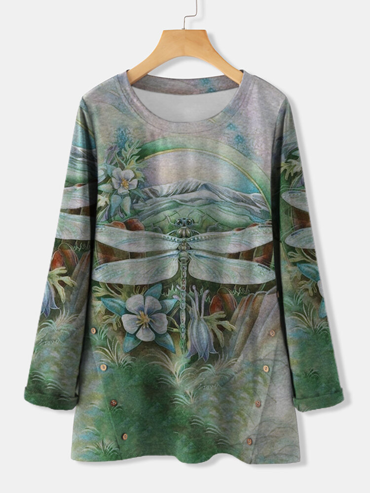 Dragonfly Printed Long Sleeve O-neck T-shirt For Women