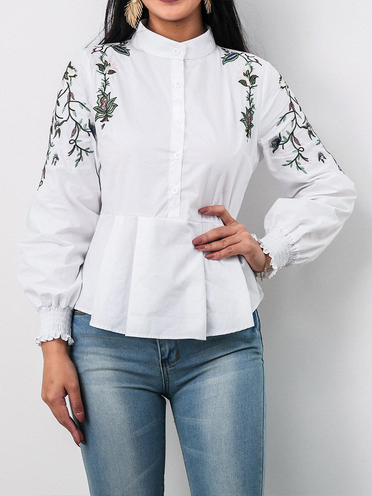 Plants Embroidery Button Lantern Sleeve Stand Collar Blouse