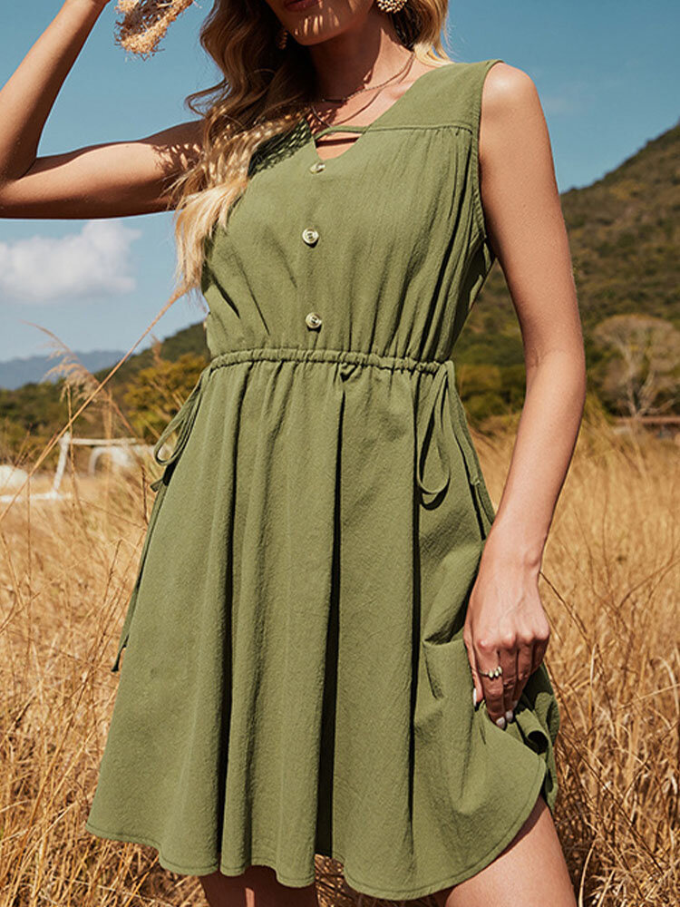 Solid Color V-neck Hollow Button Sleeveless Drawstring Casual Dress