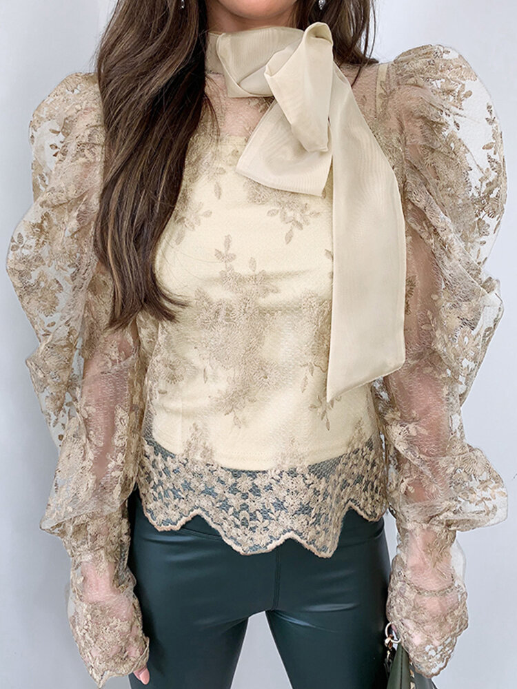 Lace Hollow Out Bowknot Tie Long Puff Sleeve Vintage Blouse
