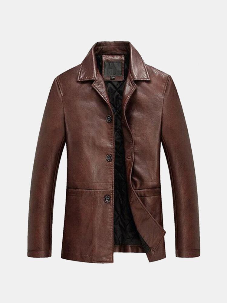 メンズジャケットカジュアルソリッドカラーシングルブレストラペル襟ルーズソフトフェイクレザージャケット