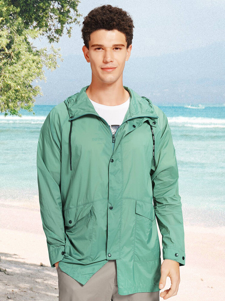 Camel Crown Mens UPF50+ Waterproof Thin Front Slit Mid-Length Hooded Coat