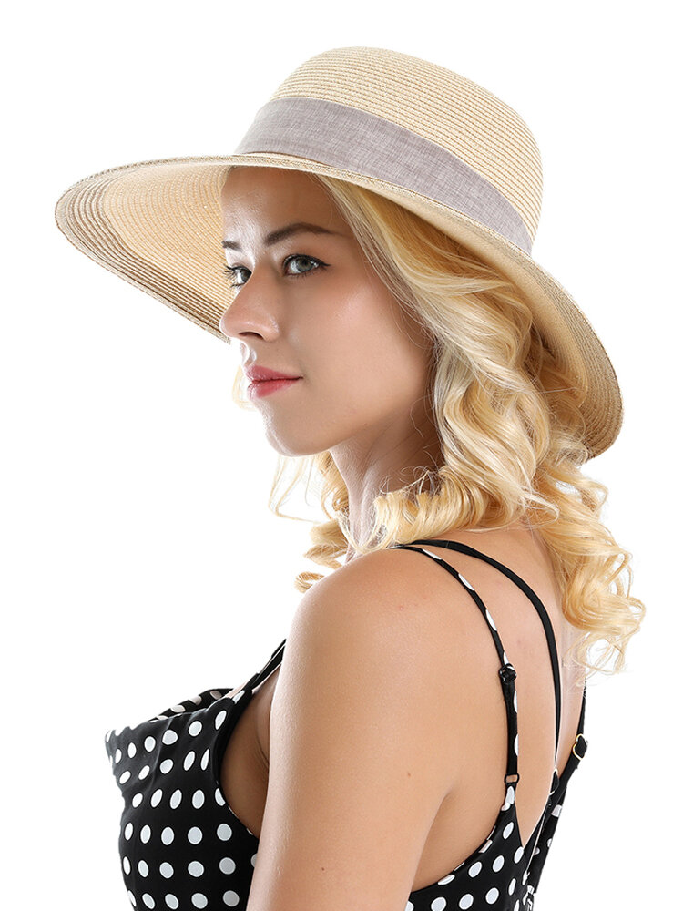 Woman Solid Color Cotton With Linen Bow Travel Holiday Sun Seaside Hat