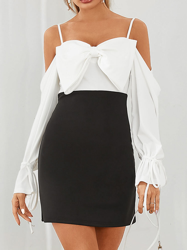 Contrast Color Strap Backless Bowknot Long Sleeve Mini Sexy Dress