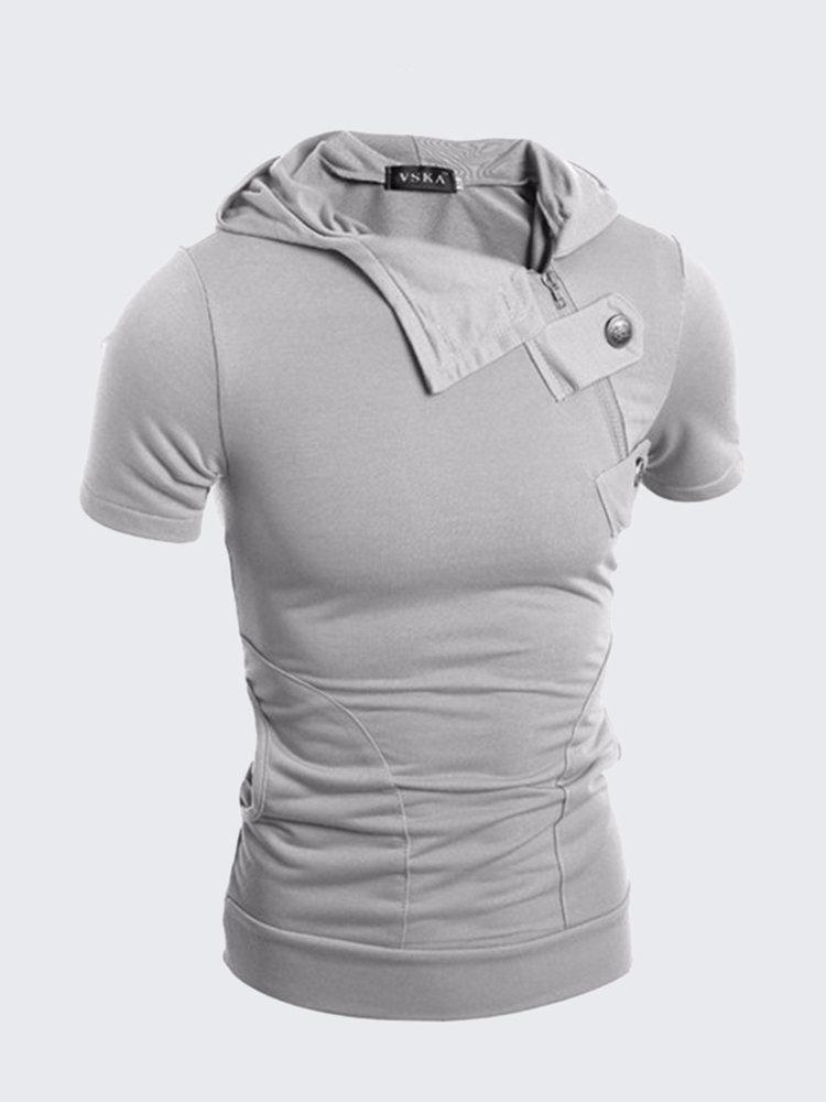 Men's Cool Solid Color Half Zipper Metal Buckles Slim Fit Hooded Cotton T-shirts