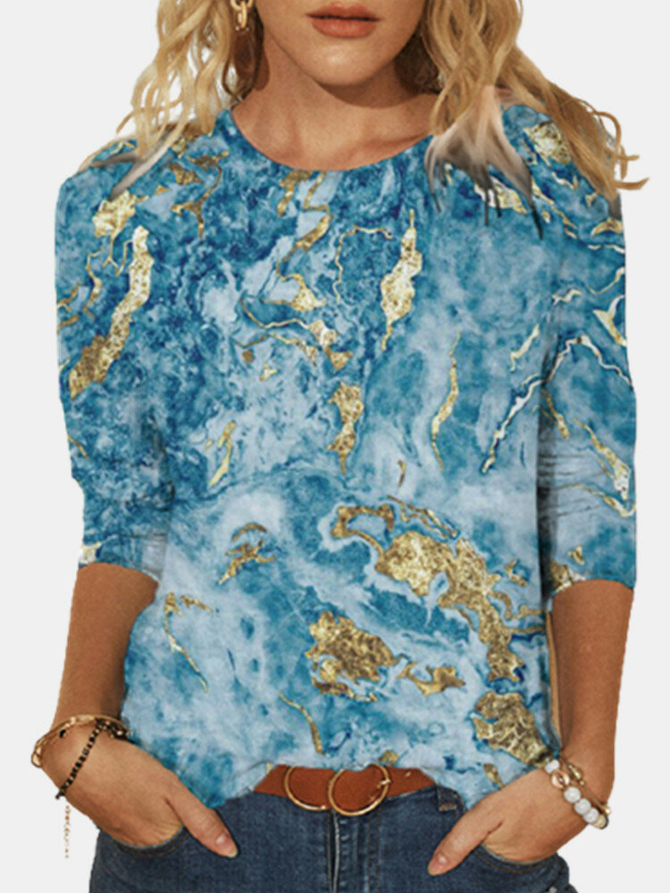 Print O-neck Long Sleeve Plus Size Casual Blouse for Women