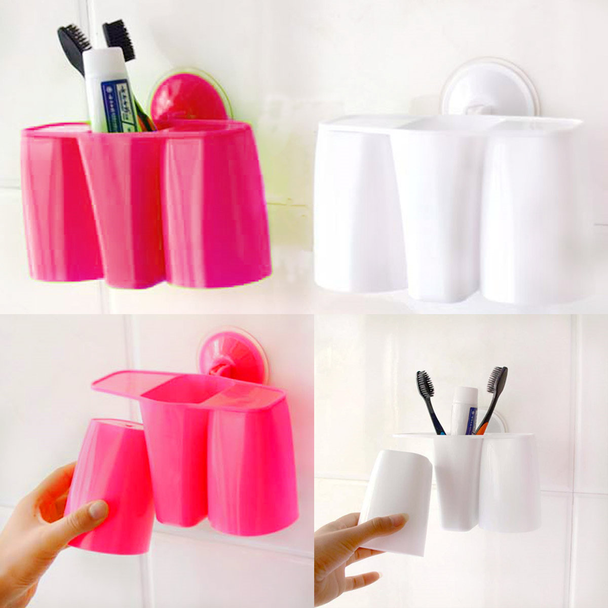 Creative Magnetic Sucker Toothbrush Holder Suction Cup Couples Holder Rack Supply