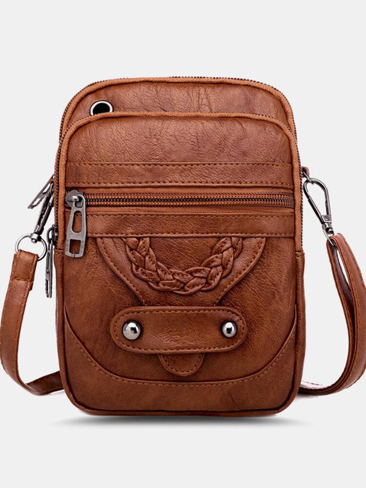 Women PU Leather Rivet Earphone Hole Vintage 6.3 Inch Phone Bag Crossbody Bags Shoulder Bag