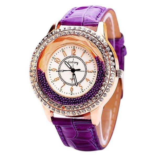 Unique Full Rhinestone Drift Beads Leather Strap Casual Women Quartz Luxury Watches for Women