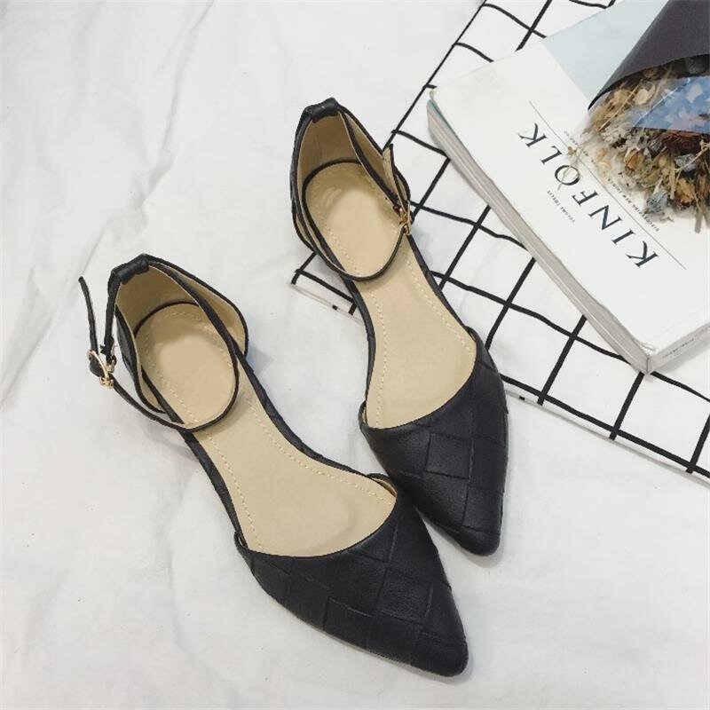 Womens Stylish Pointed Toe Solid Color Buckle Chic Flats Shoes