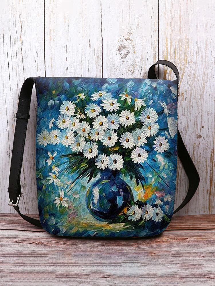 Women Calico Vase Pattern Print Crossbody Bag Shoulder Bag