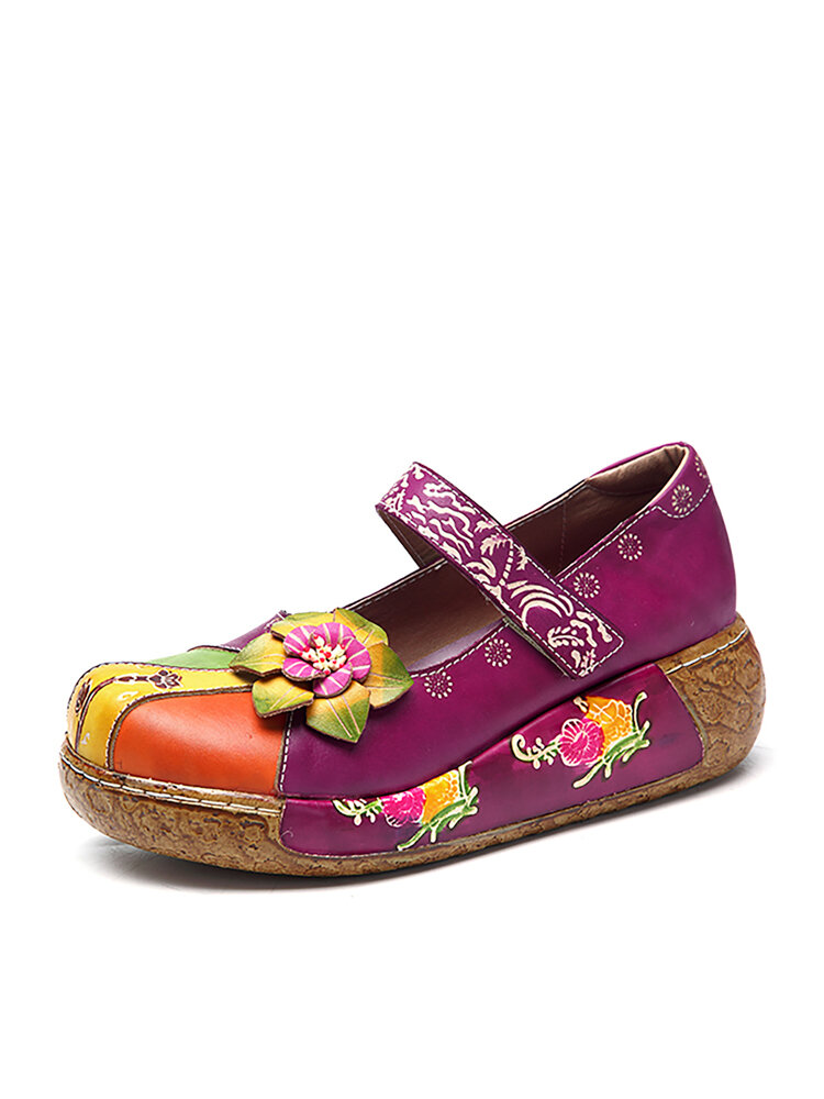 SOCOFY New Printing Splicing Handmade Flower Flat Leather Shoes