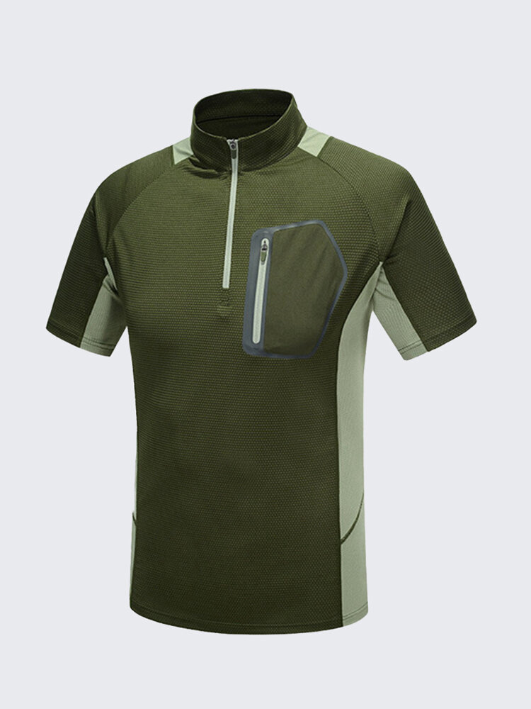 Mens Outdoor Sports Absorbent Breathable Quick Drying Stand Collar Short Sleeve T-shirts