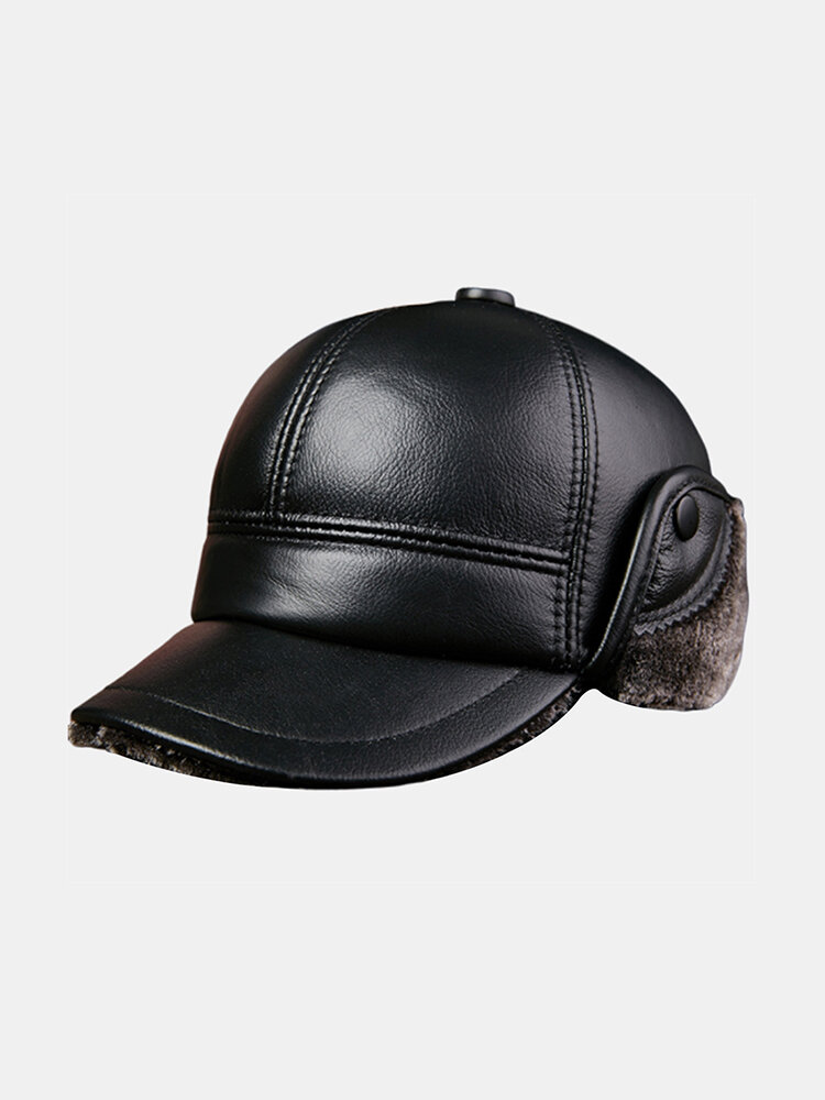 Trapper Hat Men's Thick Warm Outdoor Earmuffs Cotton Hat Leather Hat