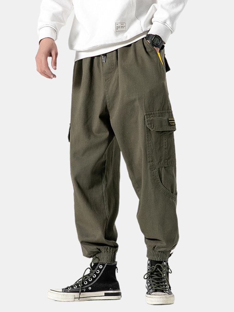 Mens Loose Multi-Pocket Elastic Waist w Drawstring Ankle Length Cargo Pants