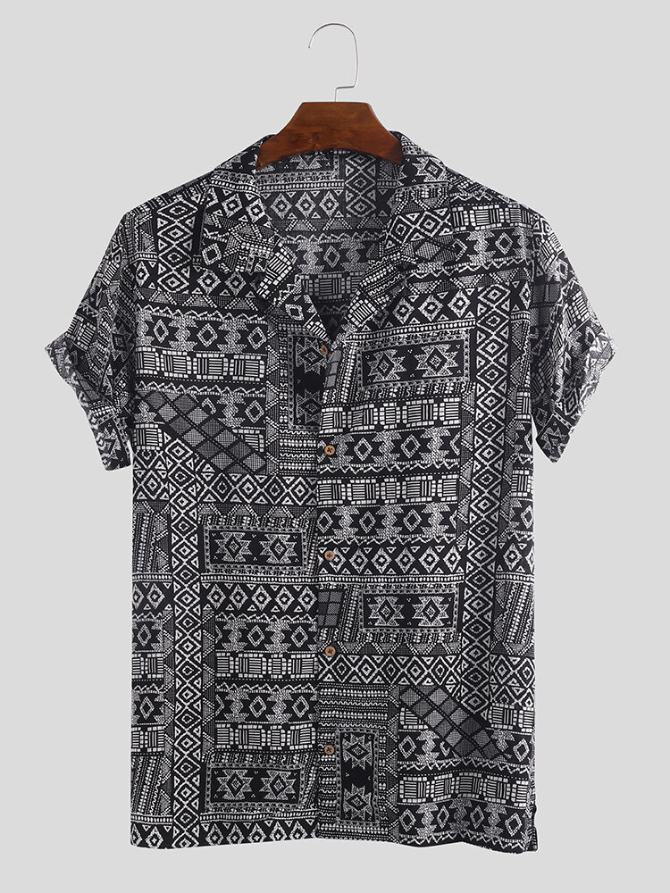Mens Vintage Ethnic Printed Turn Down Collar Short Sleeve Casual Loose Shirts