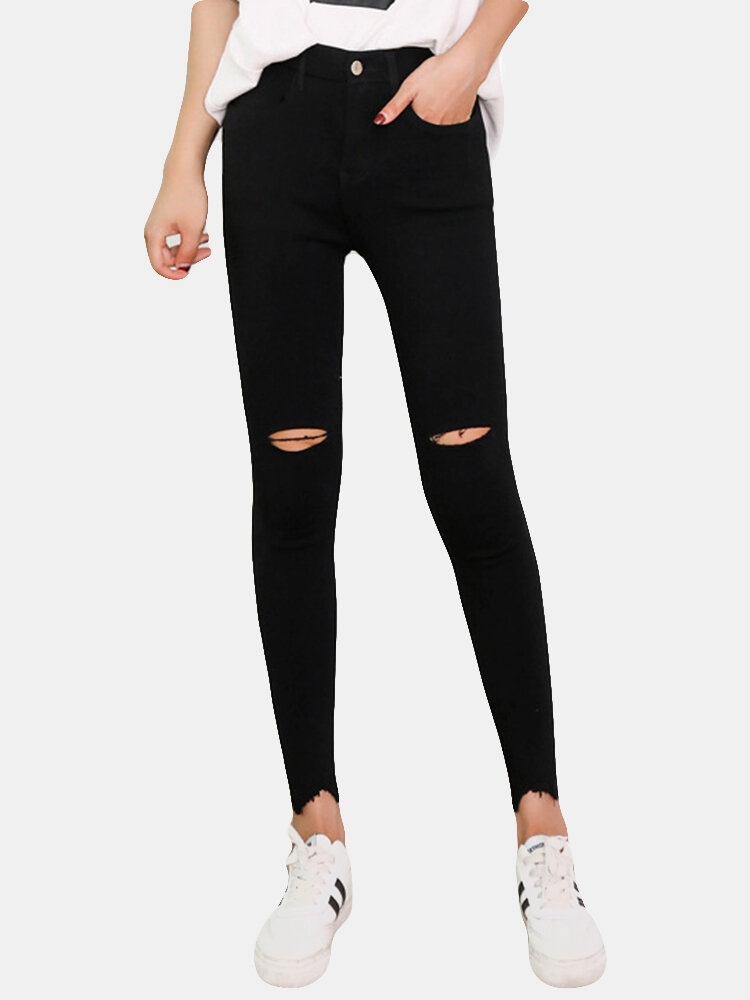Skinny Knee Ripped Hole Thin Stretch Pencil Pants