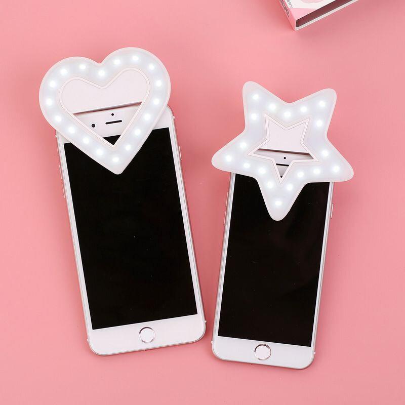 Cute Heart-shaped LED Mobile Phone Self-timer Photographic Lighting Mobile Phone Makeup Mirror Light Fill Light