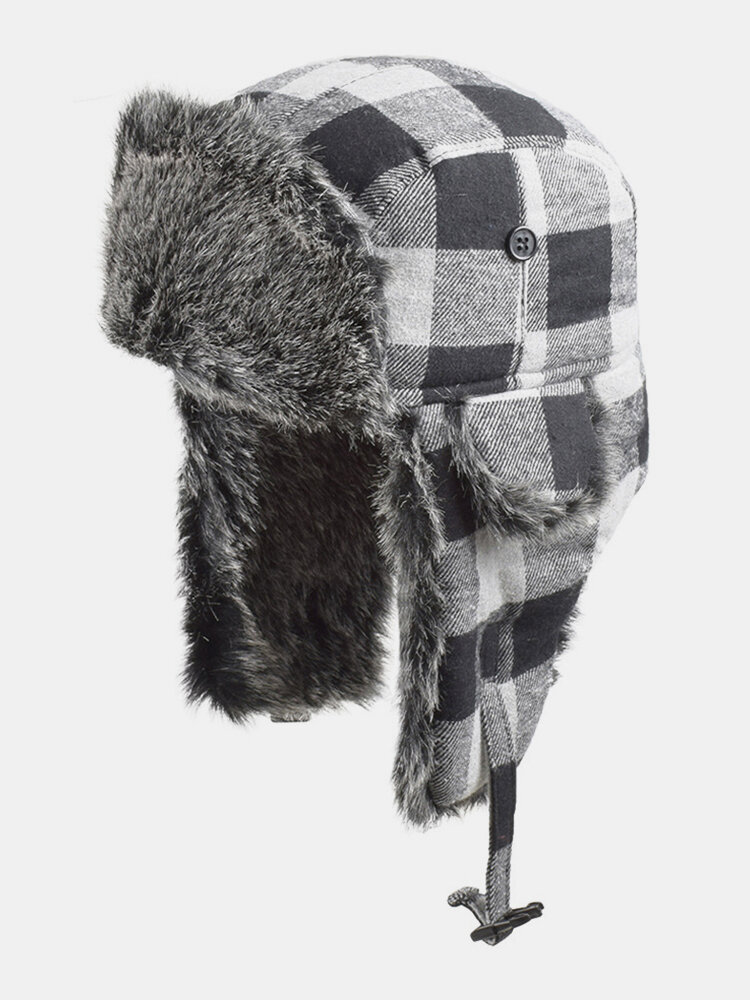 Men & Women Plaid PatternCold-proof Winter Trapper Hat Thick Winter Hat Ear Protection Trapper Hat