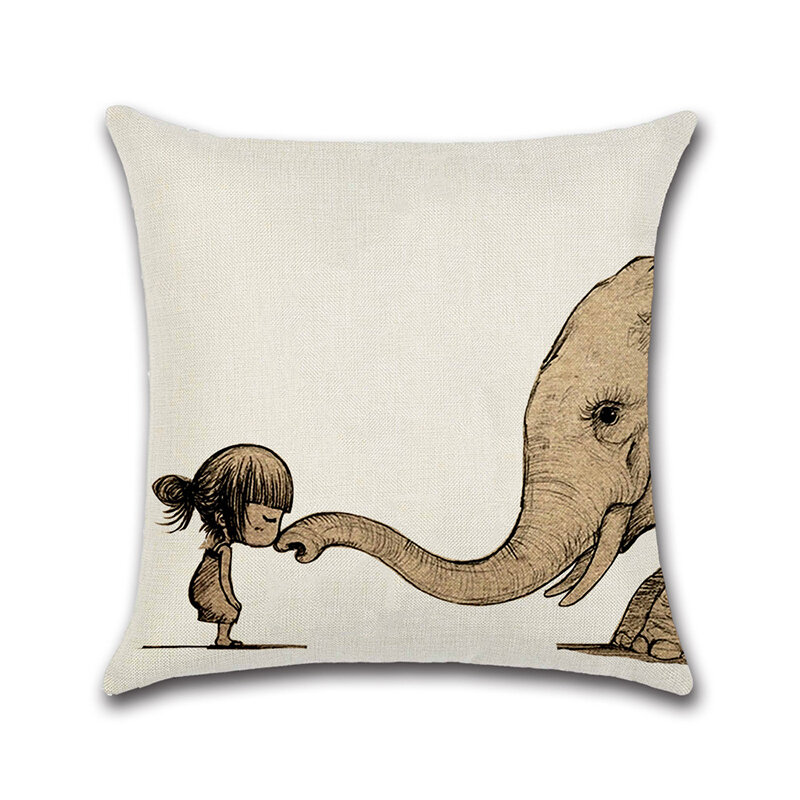 Cotton Linen Animals Whale Elephant Dinosaur Cushion Cover Square Home Decorative Pillowcase