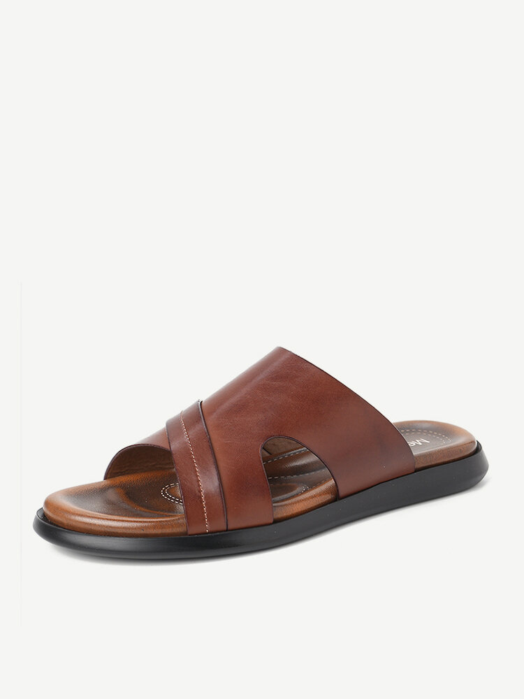 Men Retro Color Leather Soft Sole Casual Beach Slippers