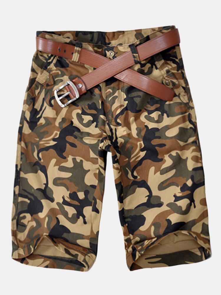 Hombre verano 100% algodón transpirable camuflaje rodilla longitud pantalones cortos casuales