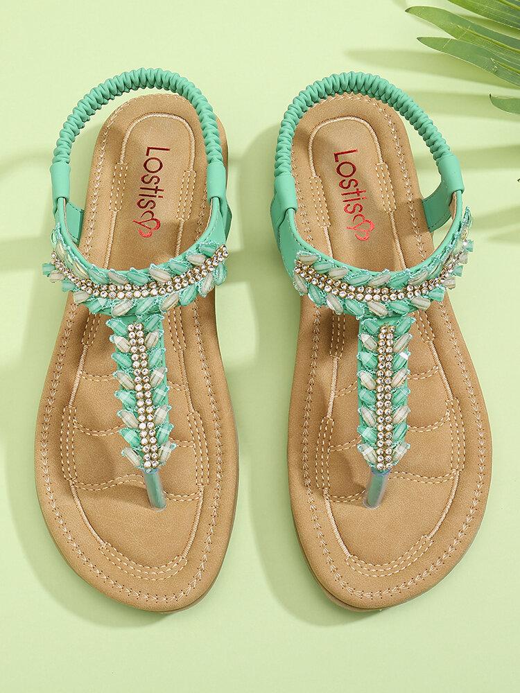 LOSTISY Women Clip Toe Rhinestone Comfy Elastic Beach Flat Sandals