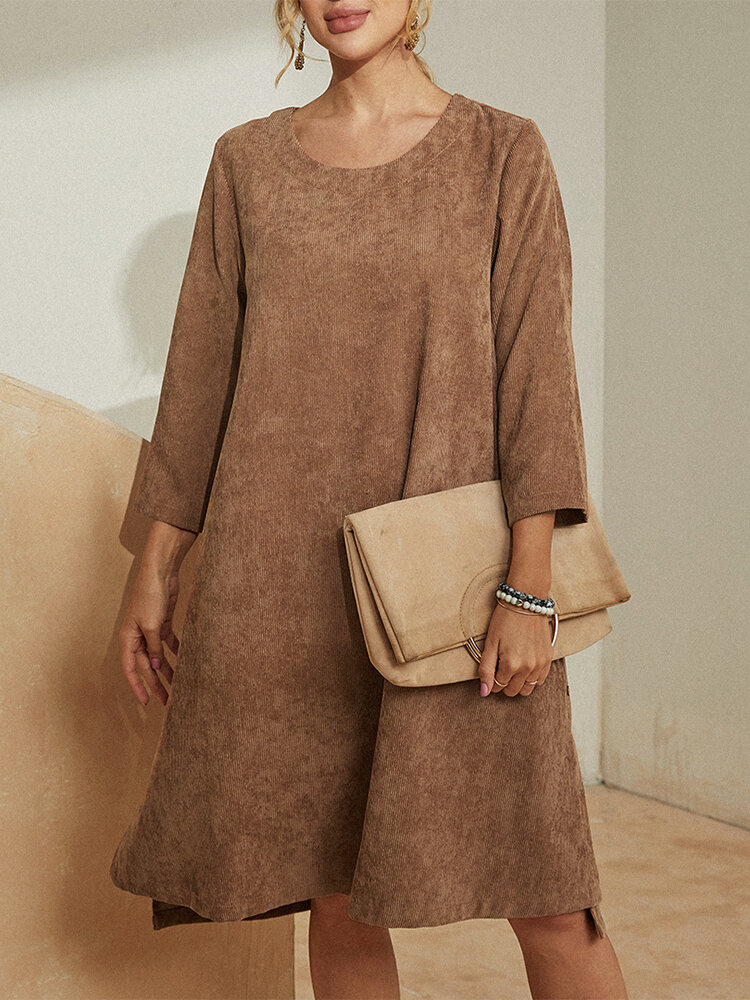 Solid Color Long Sleeve O-neck Corduroy Midi Dress For Women