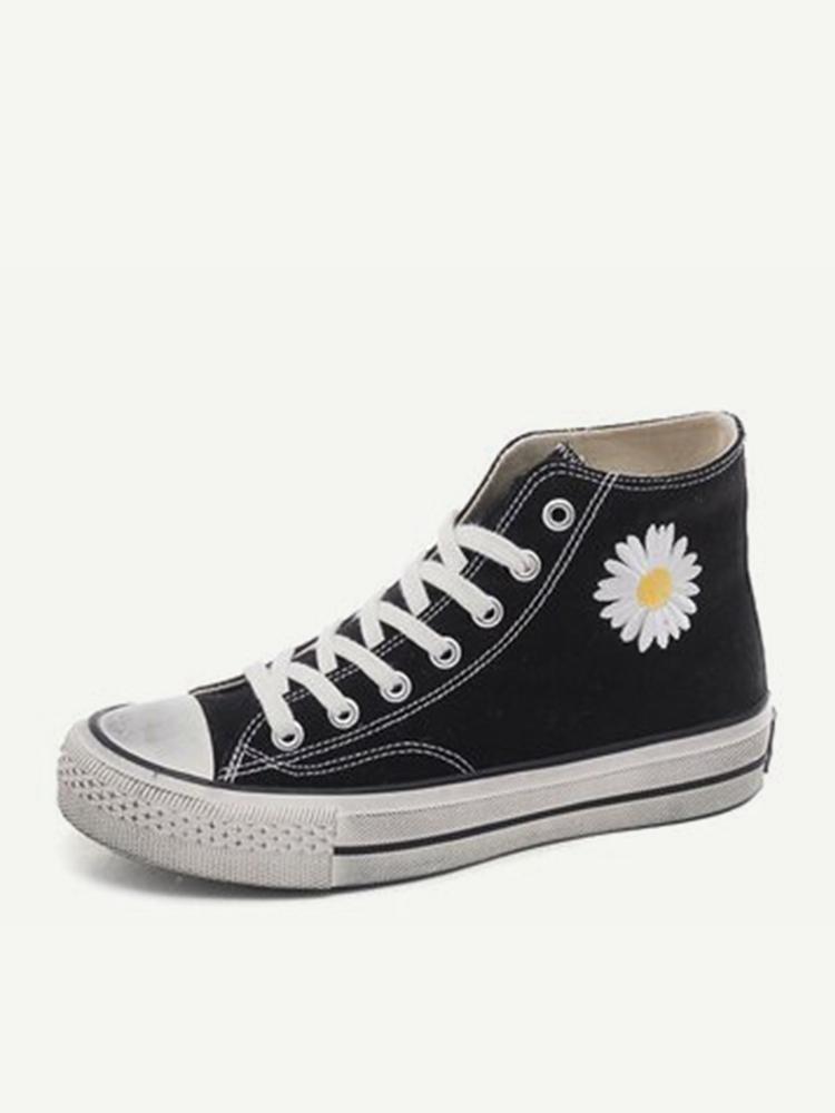 Women Classic Canvas Daisy Pattern Collocation Black Sneakers