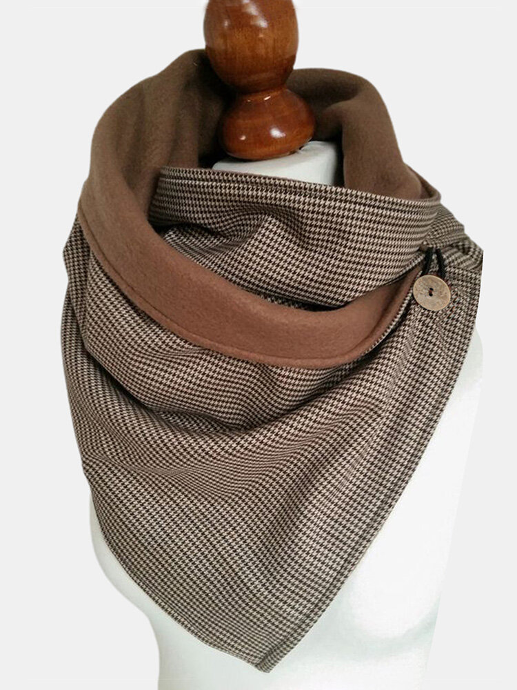 Women Cotton Houndstooth Pattern With Buckle Casual Thicken Warmth Shawl Scarf