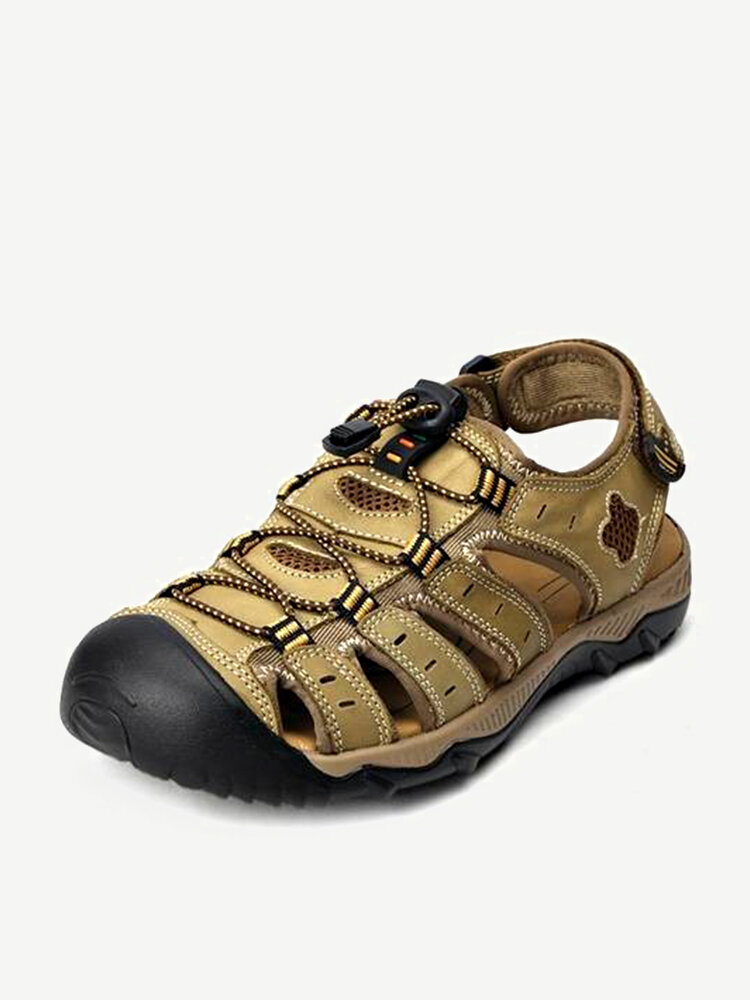 Big Size Men Leather Lace Up Hollow Out Outdoor Beach Sandals