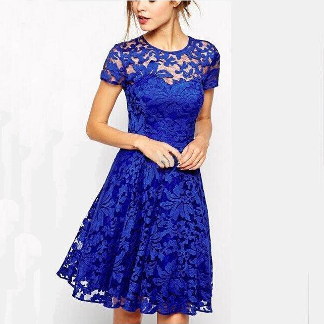 temperament fashion round neck short-sleeved lace dress