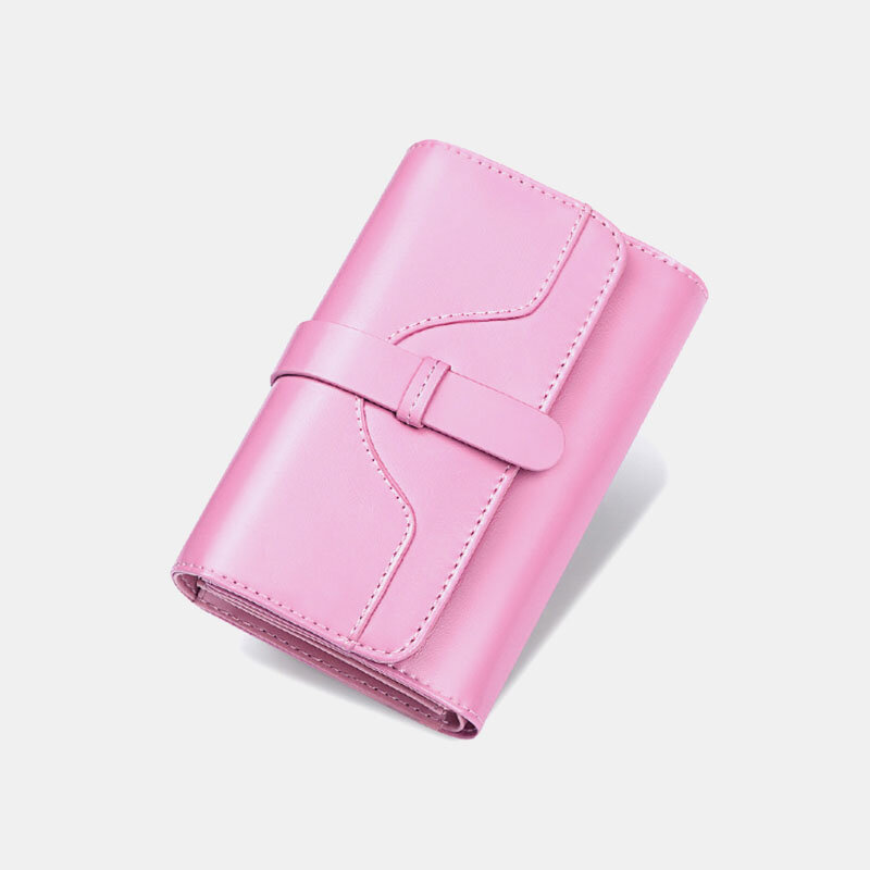 Women Genuine Leather Trifold Multi-card Slots Photo Card Money Clip Coin Purse Multifunctional Wallet (SKUG05337) photo