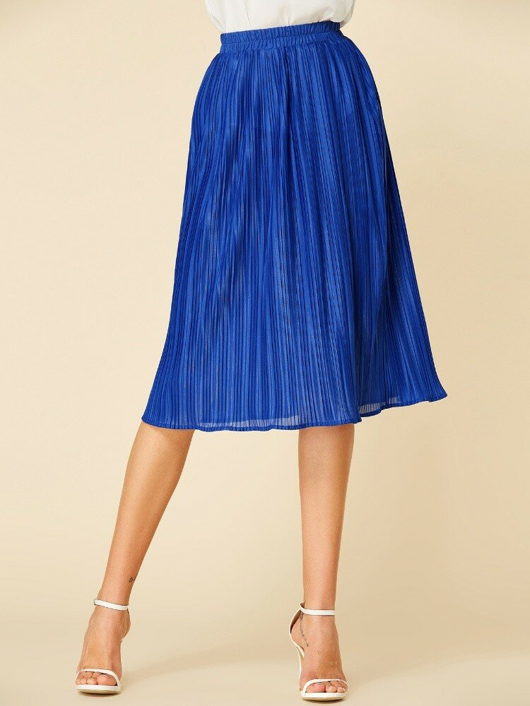 Solid Color Pleated Elastic Waist Casual Skirt for Women
